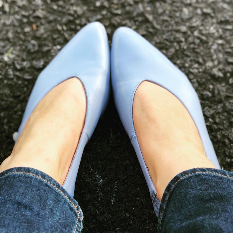 Wintour Dress Flat, Baby Blue Leather, Mi Piaci