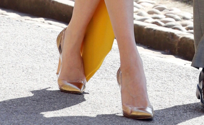 Royal Wedding 2018 - Best Shoes on Show - Amal Clooney, Gold Metallic High Heeled Shoes