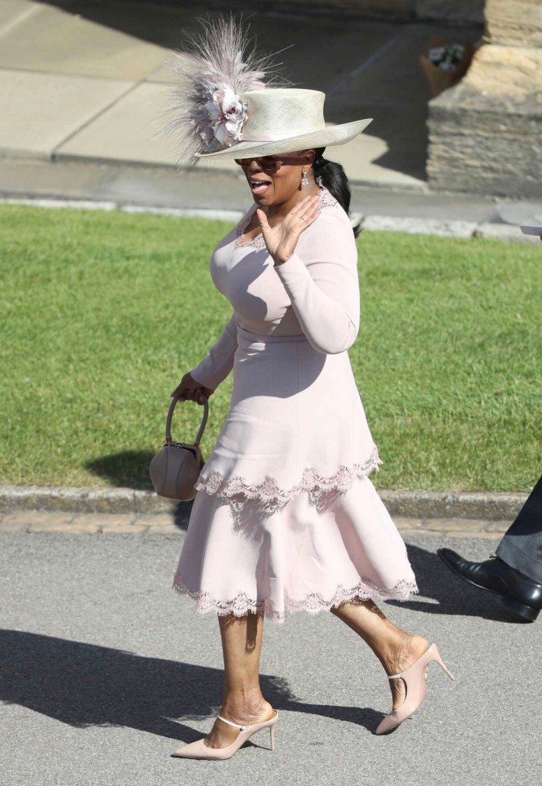 Royal Wedding 2018 - Best Shoes on Show - Oprah Winfrey, Blush Pink Mary Jane Mules Shoes