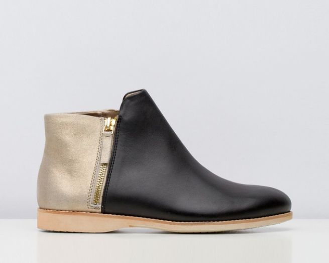 Rollie - SideZip Boot Black:Brushed Gold